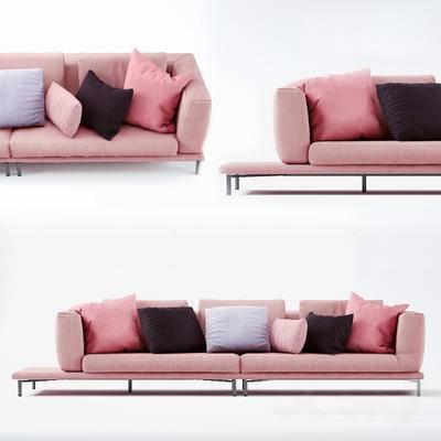 北欧简约, 粉色, 沙发, 多人沙发