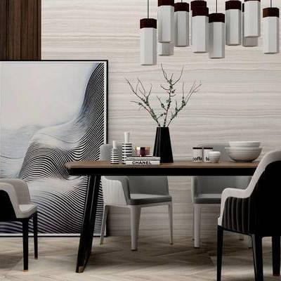 桌椅组合, 壁画, 吊灯, 桌子, 椅子, 花瓶, 现代