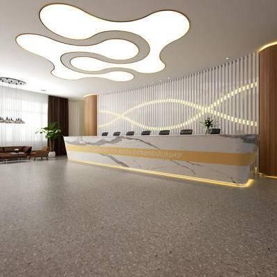 现代前台办公室, 吊灯, 沙发茶几组合, 前台, 落地灯, 办公椅, 盆栽, 现代