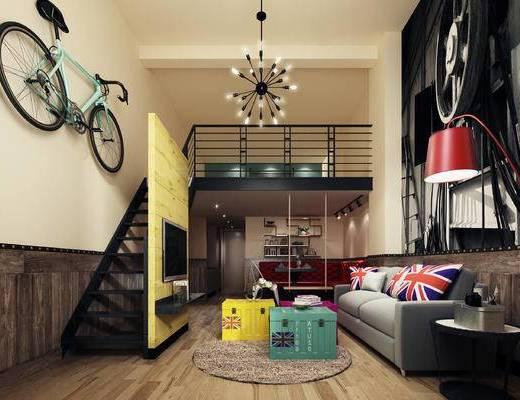 美式公寓, 落地灯, 多人沙发, 吊灯, 壁画, 地毯, 美式