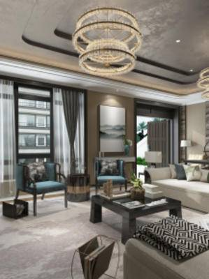 新中式客厅, 沙发茶几组合, 吊灯, 壁画, 台灯, 摆件组合, 地毯, 新中式