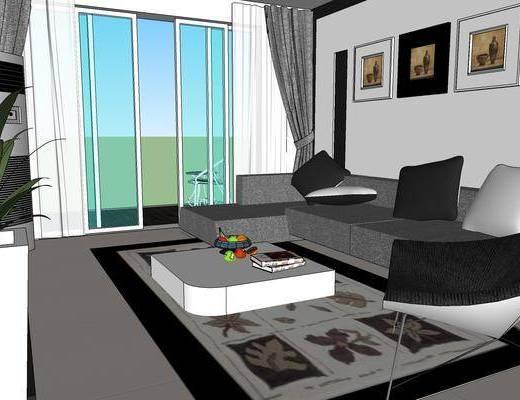 现代客厅, 沙发组合, 卧室, 餐厅, 客厅餐厅