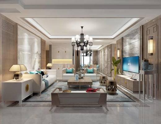 新中式客餐厅, 壁画, 吊灯, 多人沙发, 茶几, 边柜, 台灯, 边几, 电视柜, 沙发躺椅, 新中式
