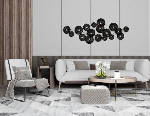 现代沙发组合, 多人沙发, 沙发椅, 茶几, 现代