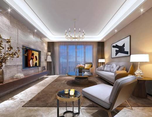 现代客厅, 吊灯, 多人沙发, 茶几, 边几, 台灯, 壁画, 椅子, 花瓶, 地毯, 现代