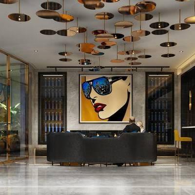 会客厅, 吊灯, 多人沙发, 壁画, 吧椅, 桌子, 现代