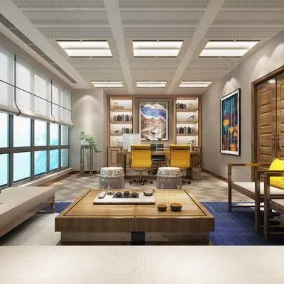 中式办公室, 多人沙发, 茶几, 壁画, 置物柜, 桌子, 椅子, 边几, 凳子, 中式