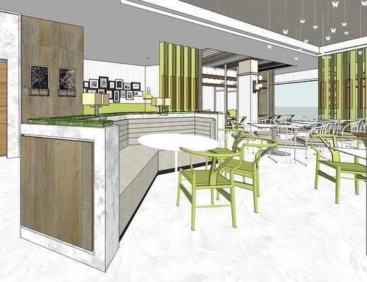 现代餐厅, 吊灯, 桌子, 椅子, 壁画, 吧椅, 现代