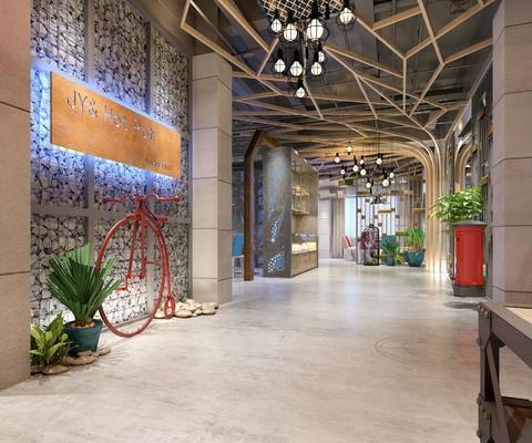 走廊过道, 吊灯, 置物柜, 盆栽, 现代