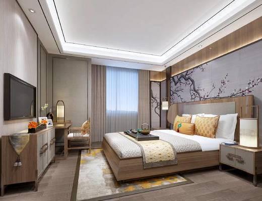 新中式卧室, 壁画, 双人床, 床头柜, 台灯, 电视柜, 地毯, 椅子, 新中式