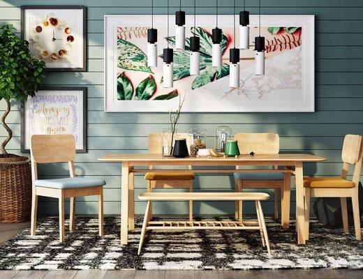 北欧简约, 桌椅组合, 吊灯, 装饰画, 器皿组合, 北欧, 下得乐3888套模型合辑