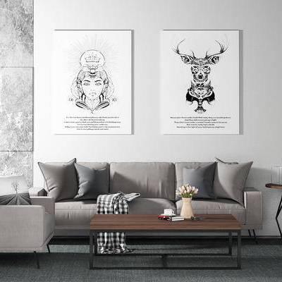 沙发组合, 多人沙发, 茶几, 椅子, 边几, 壁画, 花瓶, 现代