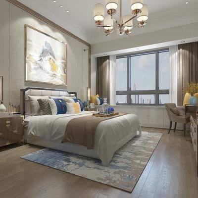 卧室, 双人床, 吊灯, 台灯, 壁画, 床头柜, 椅子, 电视柜, 中式