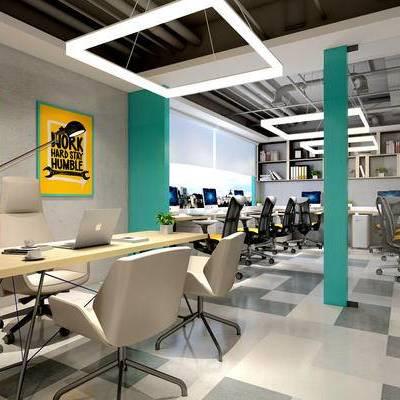 工业风办公室, 办公桌, 办公椅, 储物柜, 壁画, 吊灯, 落地灯, 工业风