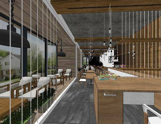 现代咖啡厅, 壁画, 桌子, 椅子, 吊灯, 吧台, 现代