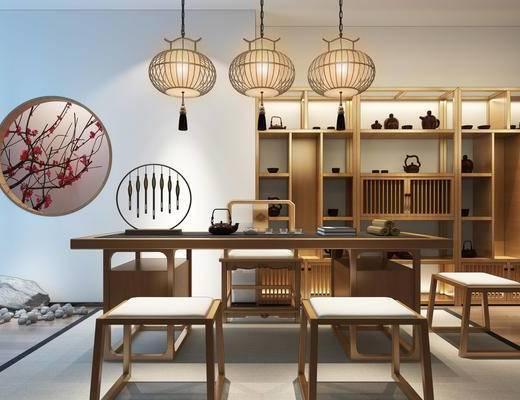 桌椅组合, 桌子, 椅子, 吊灯, 壁画, 置物柜, 新中式