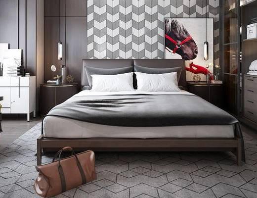 床具组合, 双人床, 衣柜, 床头柜, 吊灯, 椅子, 新古典