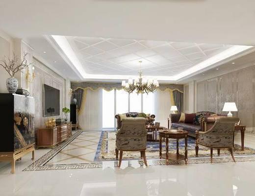 美式客厅, 吊灯, 多人沙发, 茶几, 边几, 台灯, 椅子, 电视柜, 边柜, 花瓶, 美式