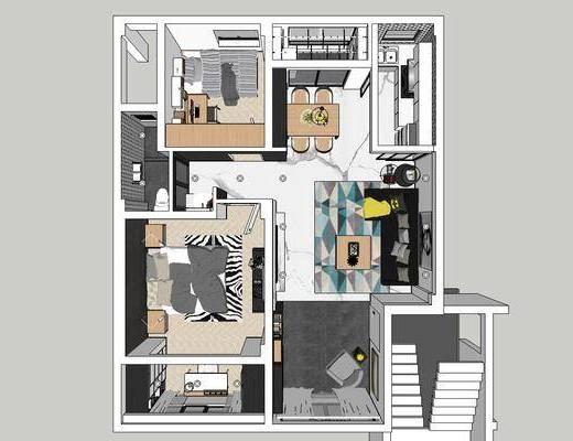 现代客厅, 客厅餐厅, 卧室, 沙发组合, 全套家装