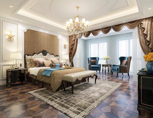 欧式, 卧室, 床, 沙发茶几组合, 吊灯