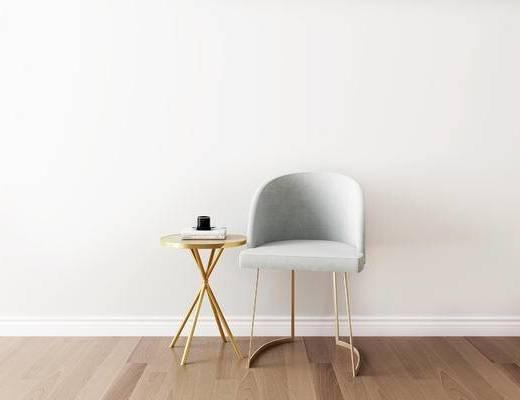 桌椅组合, 圆几, 椅子, 单椅, 现代