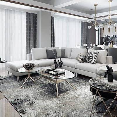 现代客厅, 多人沙发, 茶几, 边几, 桌子, 椅子, 吊灯, 现代