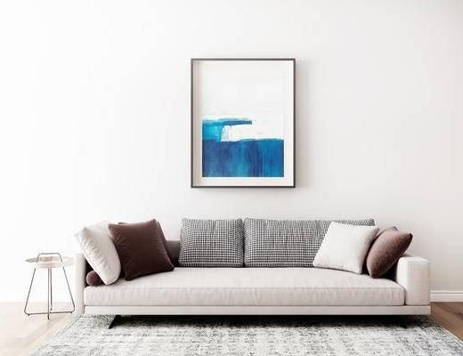 沙发组合, 壁画, 多人沙发, 圆几, 地毯, 现代