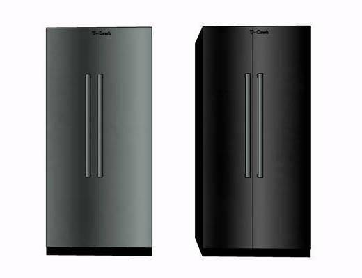 现代, 双门, 冰箱, 摆件