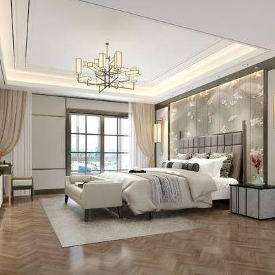 现代卧室, 吊灯, 双人床, 壁灯, 床头柜, 边柜, 相框, 沙发, 壁画, 梳妆台, 现代
