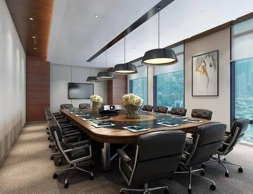 现代会议室, 桌子, 椅子, 壁画, 吊灯, 现代