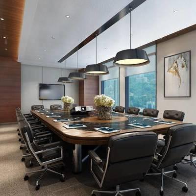 现代会议室, 吊灯, 会议桌, 椅子, 壁画, 现代