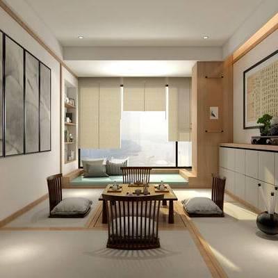 茶室, 桌子, 壁画, 边柜, 储物柜, 中式