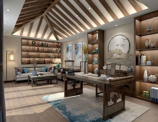 新中式会客厅, 桌子, 置物柜, 椅子, 壁画, 落地灯, 多人沙发, 茶几, 边几, 花瓶, 台灯, 地毯, 新中式