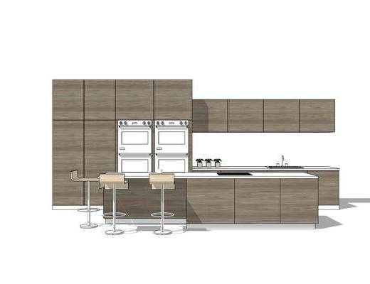 橱柜, 厨柜, 椅子, 现代, 厨房