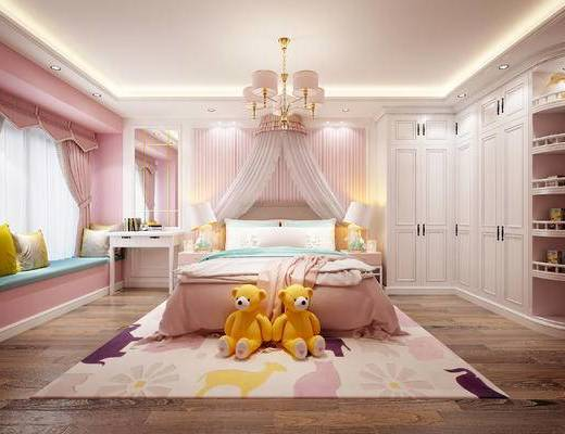 现代, 简欧, 卧室, 床, 吊灯, 衣柜, 玩具, 公仔, 台灯, 床头柜, 书桌, 书本