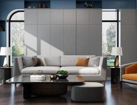 现代客厅, 多人沙发, 茶几, 椅子, 边几, 台灯, 现代