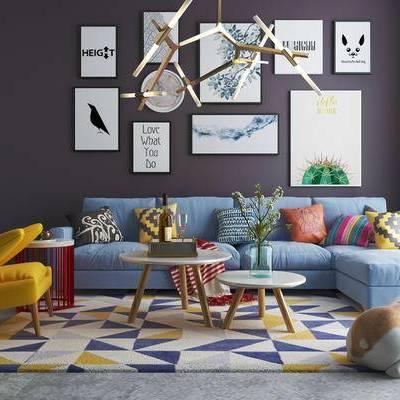 沙发组合, 吊灯, 壁画, 茶几, 椅子, 边几, 狗, 北欧