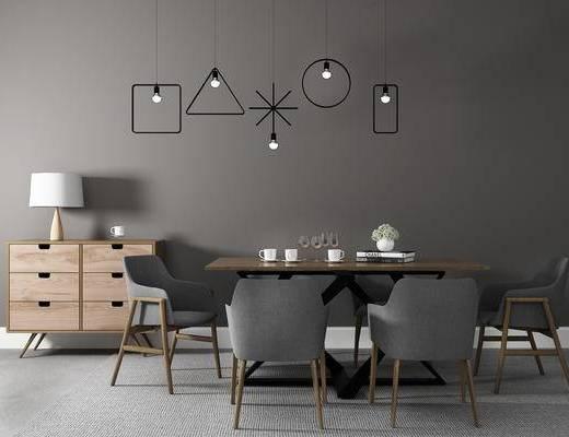 桌椅组合, 桌子, 椅子, 边柜, 吊灯, 台灯, 现代