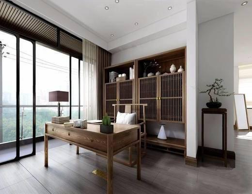 新中式, 书房, 桌椅组合, 台灯, 置物柜, 陈设品组合