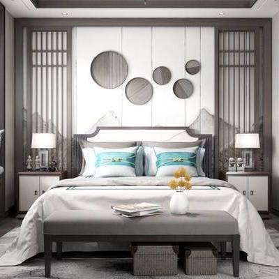 新中式卧室, 双人床, 床头柜, 台灯, 壁画, 床尾塌, 新中式