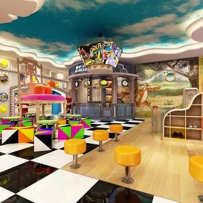 儿童训练场, 桌子, 椅子, 凳子, 壁画, 置物柜, 现代