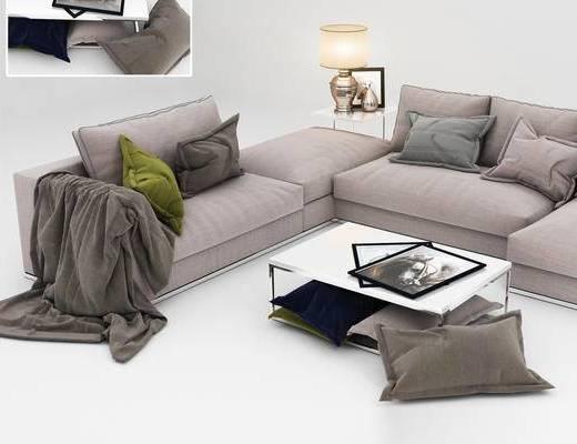 北欧简约, 现代简约, 多人沙发, 沙发茶几