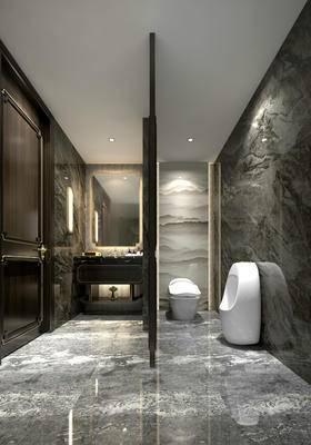 卫生间, 洗手台, 壁灯, 马桶, 镜子, 小便池, 欧式