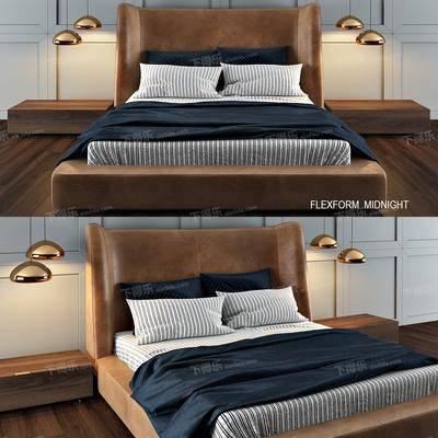 2000套国外模型, 现代, 双人床, 床具