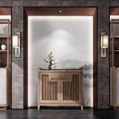 新中式, 玄关柜, 置物架, 陈设品组合, 壁灯, 下得乐3888套模型合辑