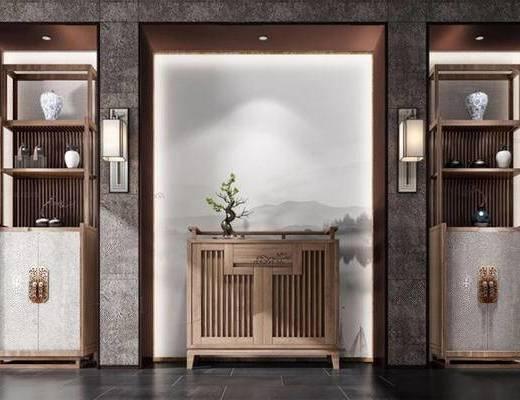 新中式, 玄关柜, 置物架, 陈设品组合, 壁灯