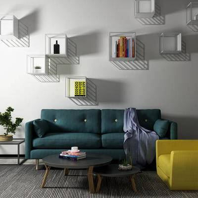 沙发组合, 双人沙发, 椅子, 茶几, 边几, 盆栽, 北欧