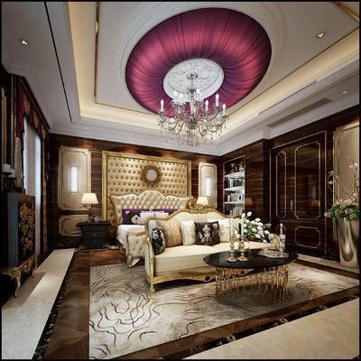 欧式卧室, 双人床, 床尾凳, 床头柜, 台灯, 吊灯, 茶几, 欧式