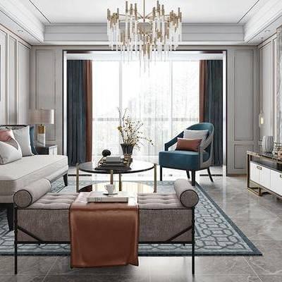 后现代客厅, 吊灯, 多人沙发, 壁画, 电视柜, 椅子, 沙发躺椅, 边柜, 台灯, 后现代