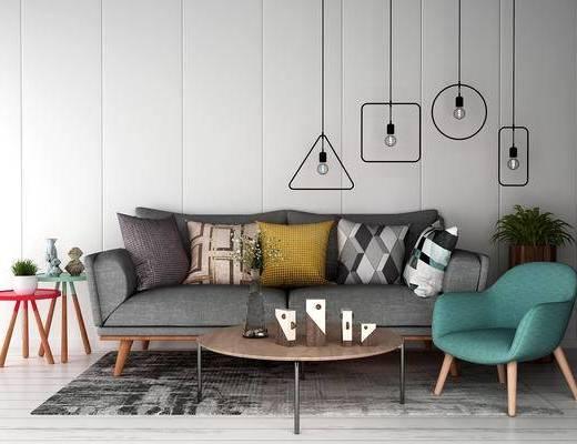 沙发组合, 茶几, 多人沙发, 椅子, 边几, 吊灯, 北欧